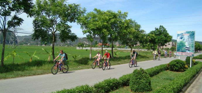 Biking in Hoa Lu